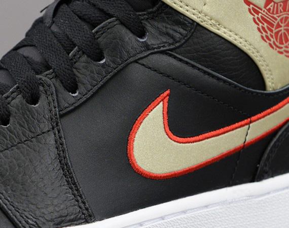 Air Jordan 1 Mid: Black - Gold - Red