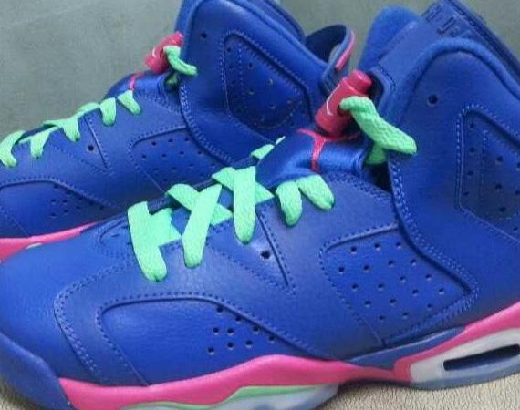 Air Jordan 6 GS: Blue - Green - Pink