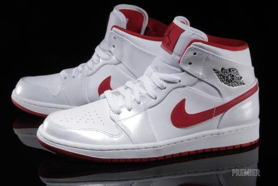 Air Jordan 1 Mid: White - Gym Red - Black